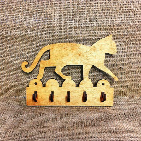 """Ключница из дерева настенная """"Кот на заборе"""" (арт. 50101)"""