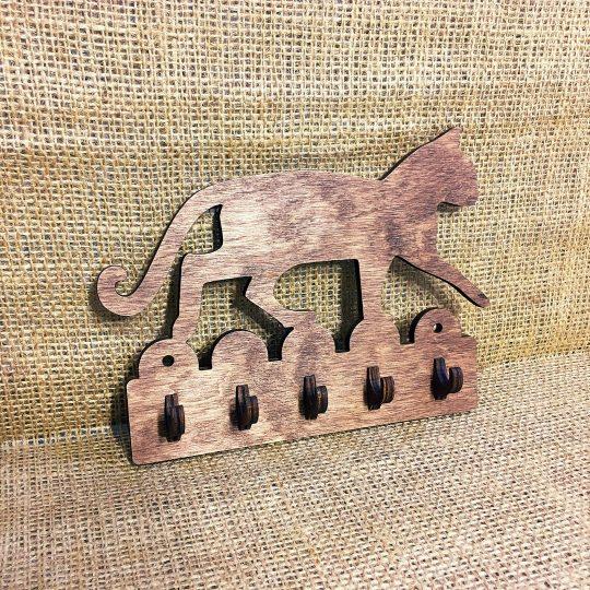 Ключница из дерева настенная «Кот на заборе» (арт. 50101)