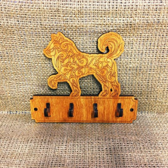 """Ключница из дерева настенная """"Кружевной пёс"""" (арт. 50108)"""