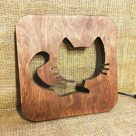 """Ночник детский из дерева """"Котёнок"""" (арт. 50703)"""